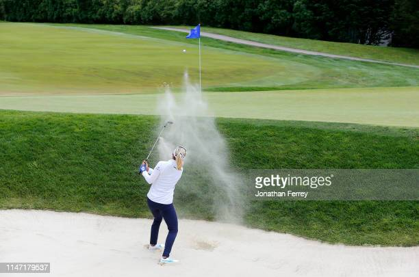 Lexi Thompson hits out of the bunker of on the 2nd hole during the final round of the LPGA Mediheal Championships at Lake Merced Golf Club on May 05...