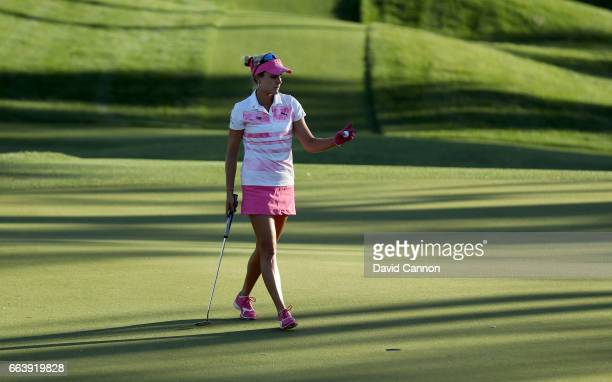 Lexi Thompson holes out from 18 inches for par on the 17th hole during the third round of the 2017 ANA Inspiration held on the Dinah Shore Tournament...