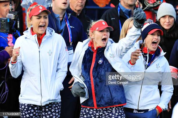 Lexi Thompson Jessica Korda of Team USA and Team USA captain Juli Inkster celebrate at the eighteenth hole during Day 1 of The Solheim Cup at...