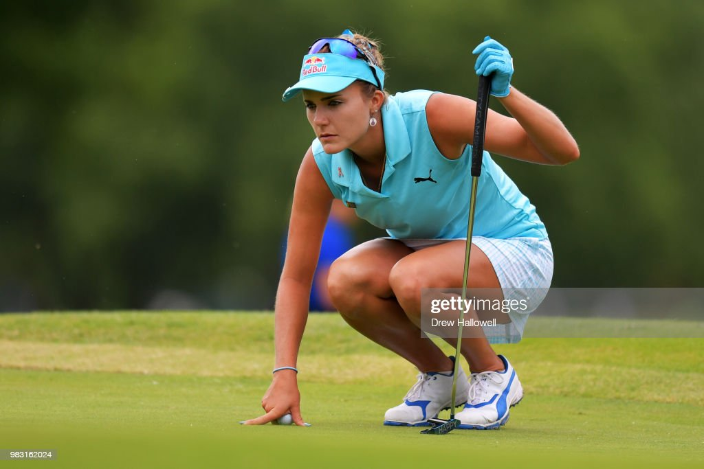 Lexi Thompson lines up a putt on the 13th hole during the final round of the Walmart NW Arkansas Championship Presented by P&G at Pinnacle Country Club on June 24, 2018 in Rogers, Arkansas.
