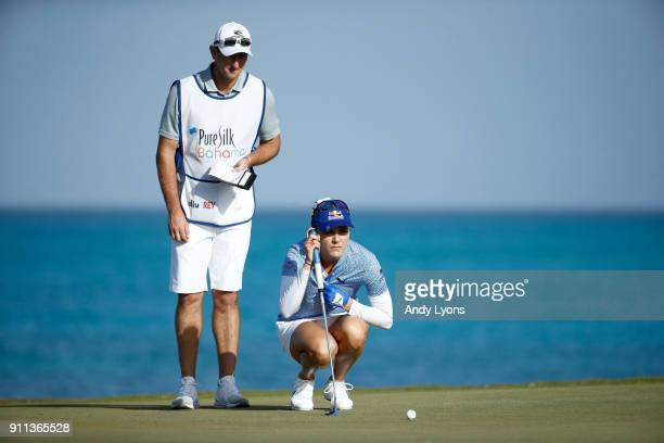 Lexi Thompson lines up her birdie puttt on the 8th hole during the second round of the Pure Silk Bahamas LPGA Classic at the Ocean Club Golf Course...