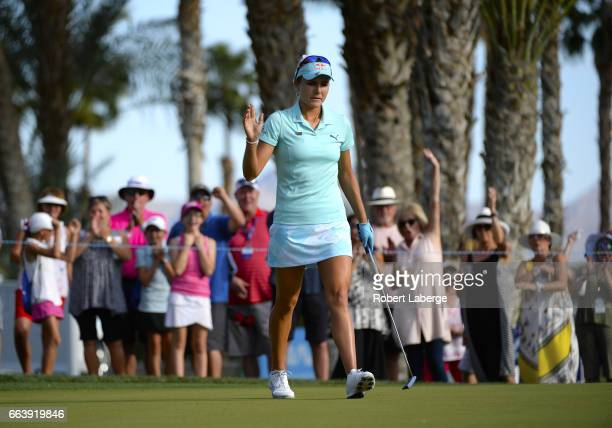 Lexi Thompson makes a birdie putt on the 13th hole during the final round of the ANA Inspiration on the Dinah Shore Tournament Course at Mission...