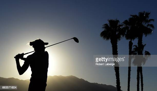 Lexi Thompson makes a tee shot on the 18th hole during the third round of the ANA Inspiration on the Dinah Shore Tournament Course at Mission Hills...