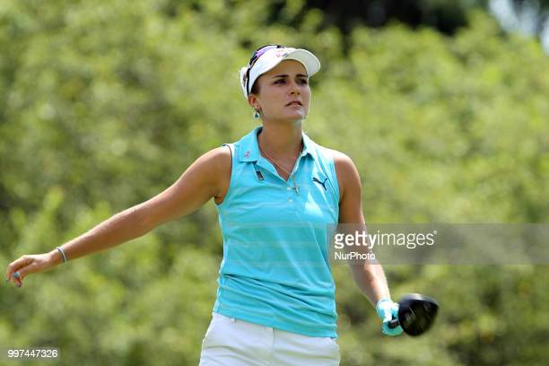 Lexi Thompson of Delray Beach Florida follows her shot from the 7th tee during the first round of the Marathon LPGA Classic golf tournament at...