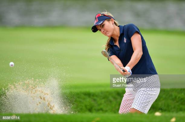 Lexi Thompson of Team USA plays a bunker shot during practice prior to The Solheim Cup at Des Moines Golf and Country Club on August 17 2017 in West...