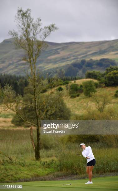 Lexi Thompson of Team USA plays a shot during practice prior to the start of The Solheim Cup at Gleneagles on September 09, 2019 in Auchterarder,...