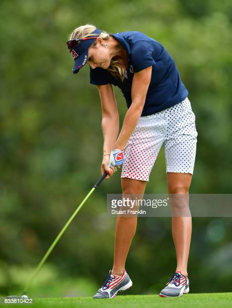 Lexi Thompson of Team USA plays a shot during practice prior to The Solheim Cup at Des Moines Golf and Country Club on August 17 2017 in West Des...