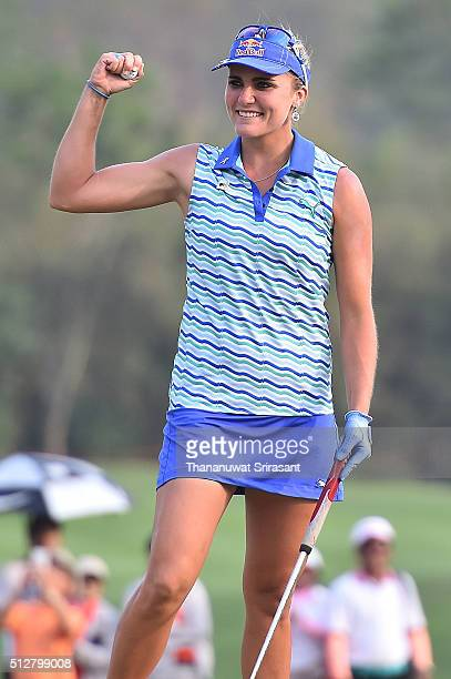 Lexi Thompson of the United States celebrates after winning the 2016 Honda LPGA Thailand at Siam Country Club on February 28 2016 in Chon Buri...