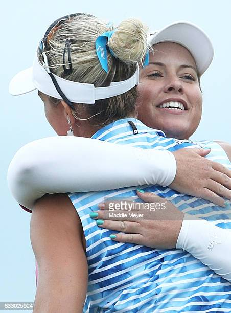 Lexi Thompson of the United States congratulates Brittany Lincicome of the United States after Lincicome won a playoff on the eighteenth hole to win...