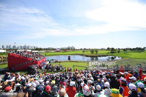 Lexi Thompson of the United States hits a tee shot on the 1st hole during the Singles match against So Yeon Ryu of South Korea on day four of the UL...