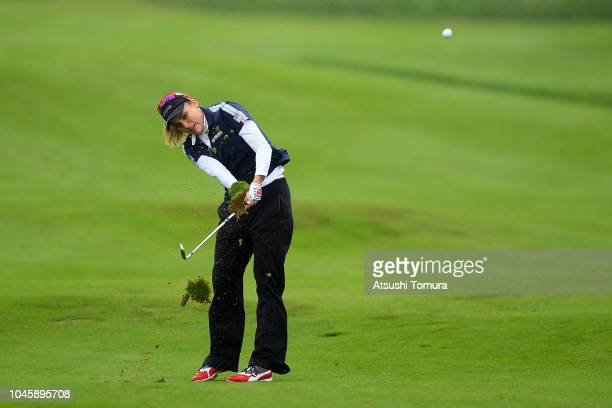Lexi Thompson of the United States hits her second shot on the 7th hole in the Pool B match between Japan and USA on day two of the UL International...