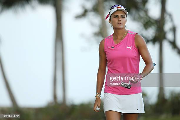Lexi Thompson of the United States looks on from the seventeenth green during round three of the Pure Silk Bahamas LPGA Classic on January 28 2017 in...