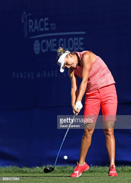 Lexi Thompson of the United States plays a shot during the proam as a preview for the 2018 ANA Inspiration on the Dinah Shore Tournament Course at...