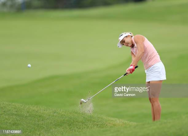 Lexi Thompson of the United States plays her second shot on the par 4 first hole during the second round of the 2019 KPMG Women's PGA Championship at...