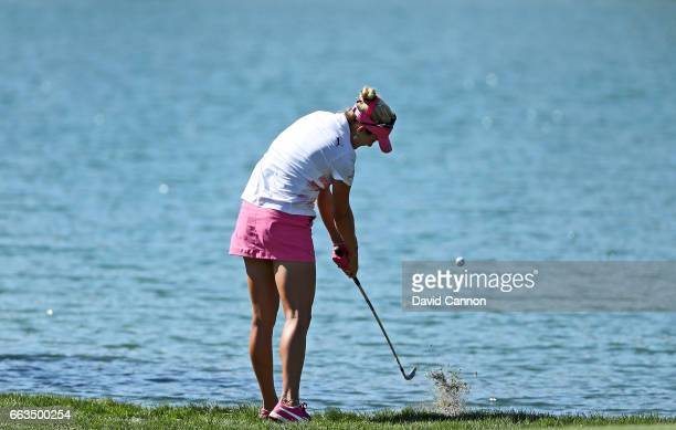 Lexi Thompson of the United States plays her second shot on the par 4 sixth hole during the third round of the 2017 ANA Inspiration held on the Dinah...