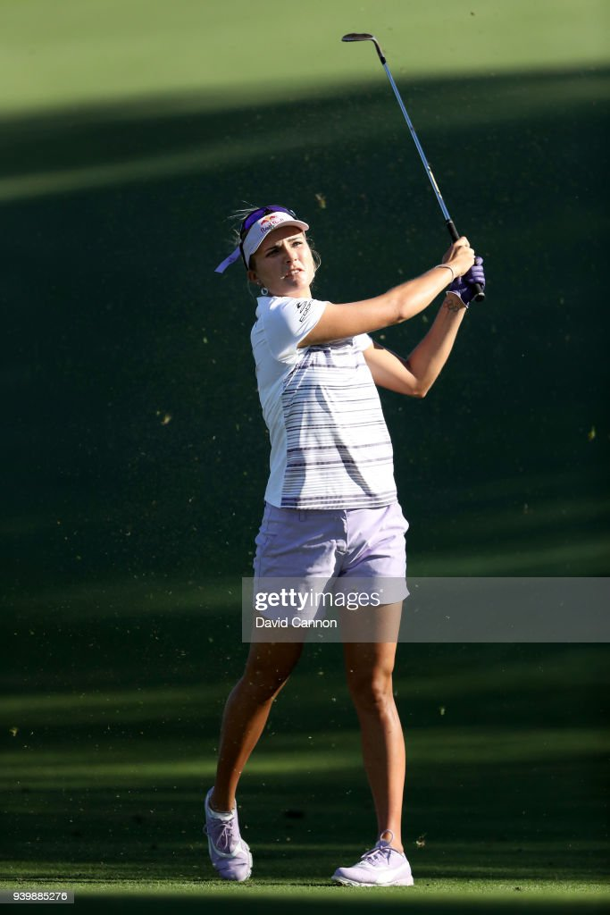 Lexi Thompson of the United States plays her second shot on the par 4, seventh hole during the first round of the 2018 ANA Inspiration on the Dinah Shore Tournament Course at Mission Hills Country Club on March 29, 2018 in Rancho Mirage, California.