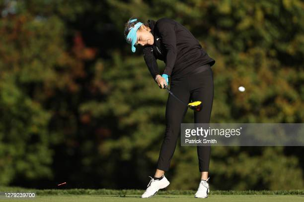 Lexi Thompson of the United States plays her shot from the third tee during the first round of the 2020 KPMG Women's PGA Championship at Aronimink...