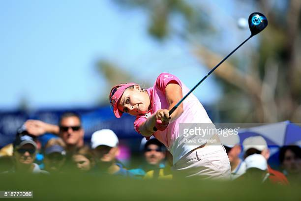Lexi Thompson of the United States plays her tee shot at the par 4 third hole during the third round of the 2016 ANA Inspiration at the Mission Hills...