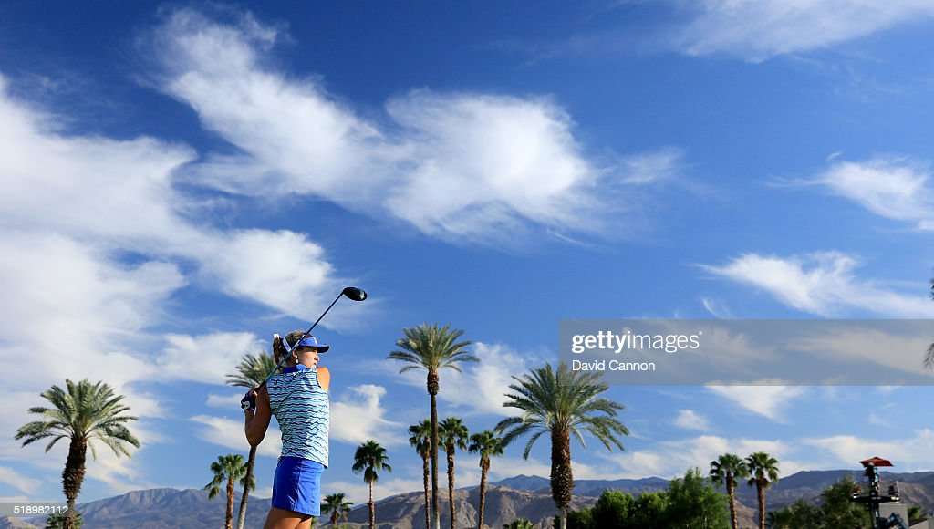 Lexi Thompson of the United States plays her tee shot at the par 4, 16th hole during the final round of the 2016 ANA Inspiration at the Mission Hills Country Club on April 3, 2016 in Rancho Mirage, California.