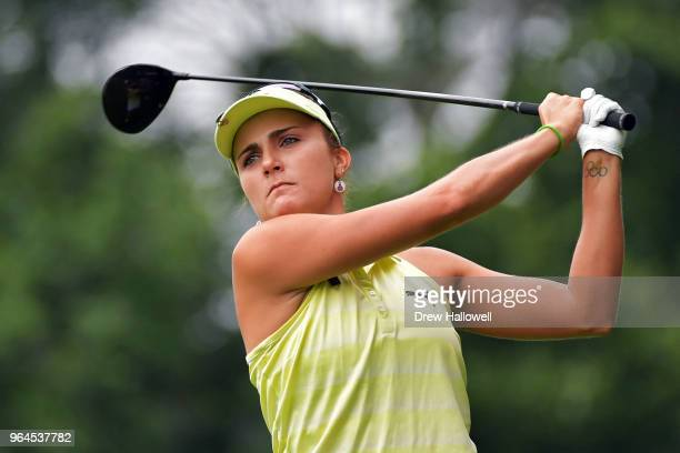 Lexi Thompson of the United States plays her tee shot on the 10th hole during the first round of the 2018 US Women's Open at Shoal Creek on May 31...