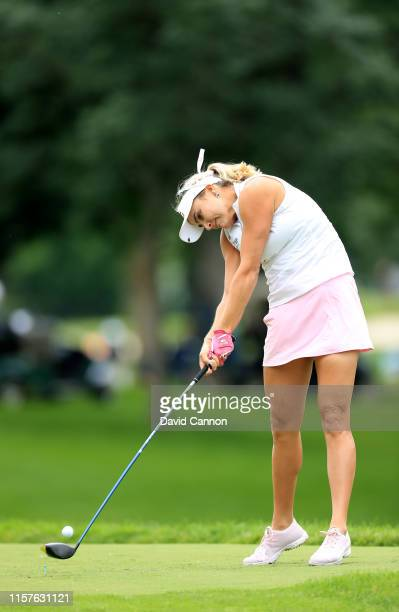 Lexi Thompson of the United States plays her tee shot on the par 5, seventh hole during the third round of the 2019 Women's PGA Championship at...