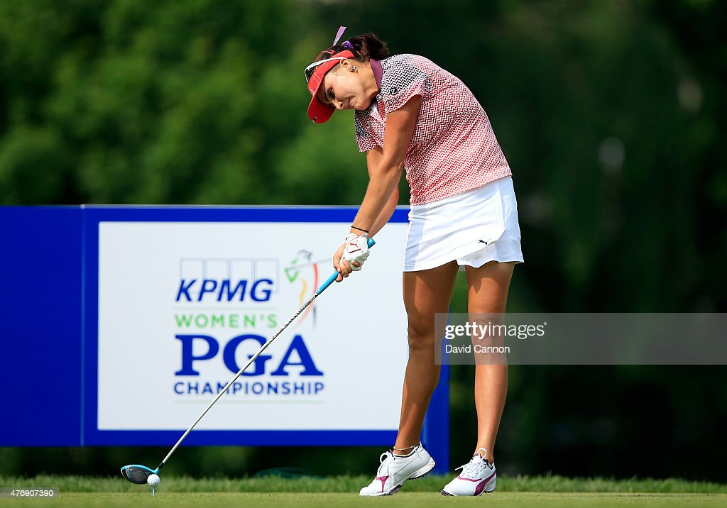 Lexi Thompson of the United States plays her tee shot on the par 5, 18th hole during the second round of the 2015 KPMG Women's PGA Championship on the West Course at Westchester Country Club on June 12, 2015 in Harrison, New York.