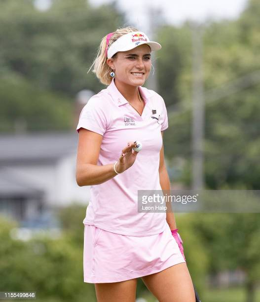 Lexi Thompson of the United States reacts after making a putt on the 9th green during the third round of the Marathon Classic presented by Dana at...