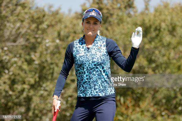 Lexi Thompson of the United States reacts on the first hole during the final round of the 76th U.S. Women's Open Championship at The Olympic Club on...