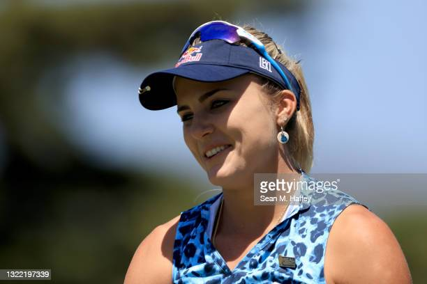 Lexi Thompson of the United States reacts to a putt on the 15th hole during the final round of the 76th U.S. Women's Open Championship at The Olympic...
