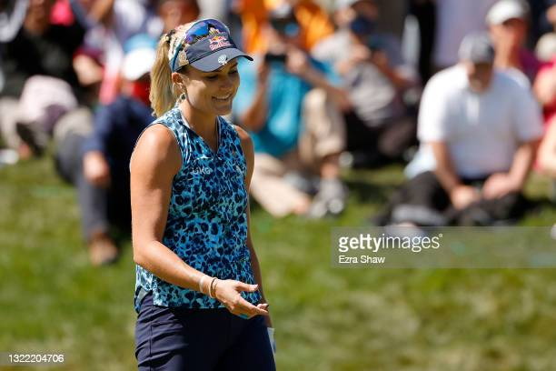 Lexi Thompson of the United States reacts to her missed putt on the 18th hole during the final round of the 76th U.S. Women's Open Championship at...