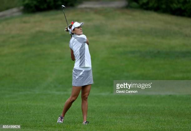 Lexi Thompson of the United States Team plays her second shot on the second hole tee in her match with Cristie Kerr against Jodi Ewart Shadoff and...