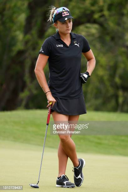 Lexi Thompson of the United States waits on the third green during the second round of the LPGA LOTTE Championship at Kapolei Golf Club on April 15,...