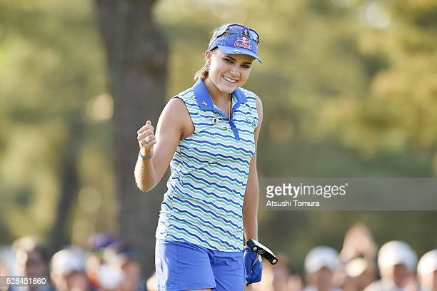 Lexi Thompson of the USA celebrates after making her birdie putt pn the 9th hole during the first round of the World Ladies Championship Salonpas Cup...