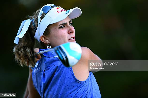 Lexi Thompson of the USA hits her tee shot on the 18th hole during the first round of the TOTO Japan Classics 2015 at the Kintetsu Kashikojima...