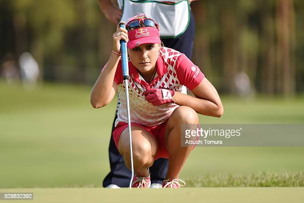 Lexi Thompson of the USA lines up her birdie putt on the 14th green during the third round of the World Ladies Championship Salonpas Cup at the...