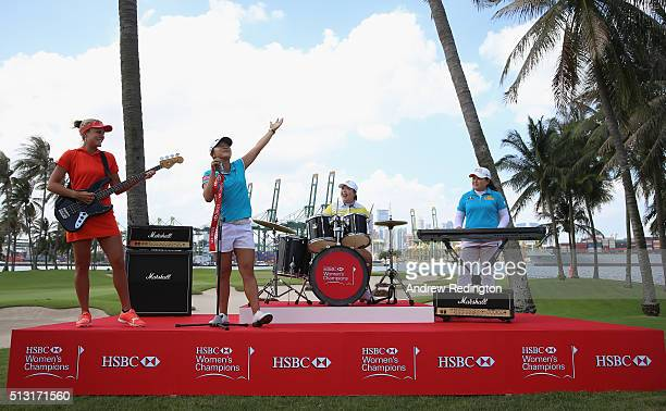 Lexi Thompson of the USA Lydia Ko of New Zealand ShanShan Feng of China and Inbee Park of South Korea are pictured during a photocall for the HSBC...