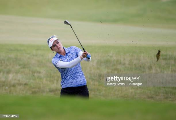 Lexi Thompson of the USA plays her approach into the 5th hole during day two of the 2017 Ricoh Women's British Open at Kingsbarns Golf Links St...
