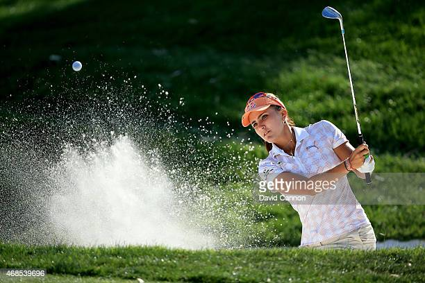 Lexi Thompson of the USA plays her second shot at the par 3 17th hole during the second round of the ANA Inspiration on the Dinah Shore Tournament...