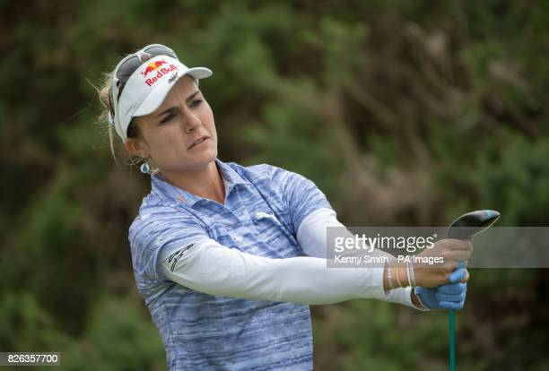 Lexi Thompson of the USA tees off at the 18th hole as storm clouds start to gather again over the Kingsbarns links during day two of the 2017 Ricoh...