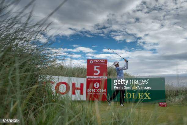 Lexi Thompson of the USA tees off at the 5th hole during day two of the 2017 Ricoh Women's British Open at Kingsbarns Golf Links St Andrews