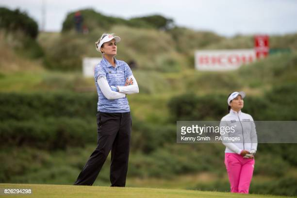 Lexi Thompson of the USA waits to play her approach at the 5th hole during day two of the 2017 Ricoh Women's British Open at Kingsbarns Golf Links St...