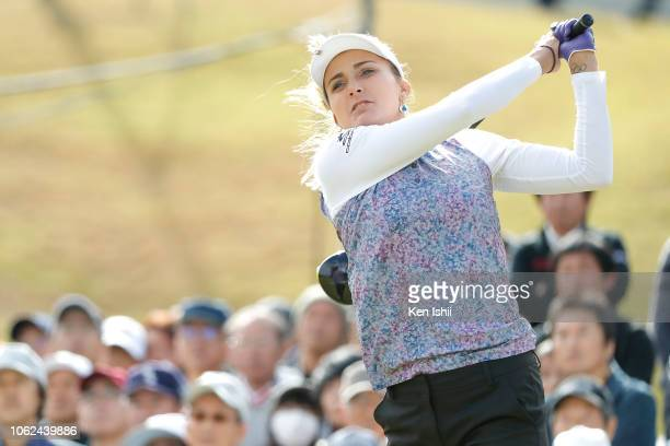 Lexi Thompson of United States hits a tee shot on the first hole during the first round of the TOTO Japan Classic at Seta Golf Course on November 02...