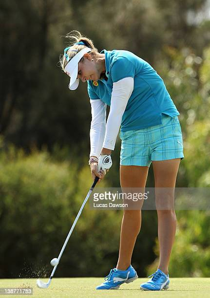 Lexi Thompson of United States plays a shot during day four of the 2012 Women's Australian Open at Royal Melbourne Golf Course on February 12 2012 in...