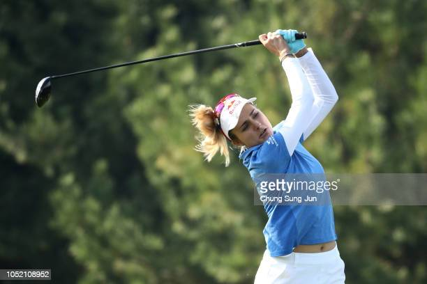 Lexi Thompson of United States plays a tee shot on the 2nd hole during the final round of the LPGA KEB Hana Bank Championship at Sky 72 Golf Club on...