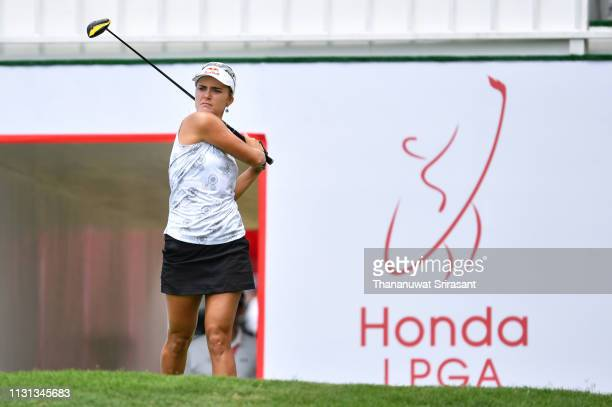 Lexi Thompson of United States plays the shot during the second round of the Honda LPGA Thailand at the Siam Country Club Pattaya on February 22 2019...