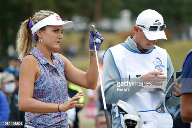 Lexi Thompson of United States prepares to tee off on the 16th green during the first round of the TOTO Japan Classic at Seta Golf Course on November...