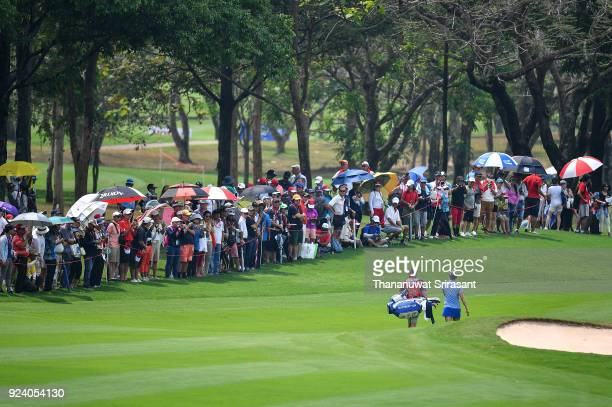Lexi Thompson of United States walks past the crowd during the Honda LPGA Thailand at Siam Country Club on February 25 2018 in Chonburi Thailand