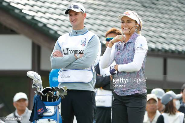 Lexi Thompson of United States watches on the first hole during the first round of the TOTO Japan Classic at Seta Golf Course on November 02 2018 in...