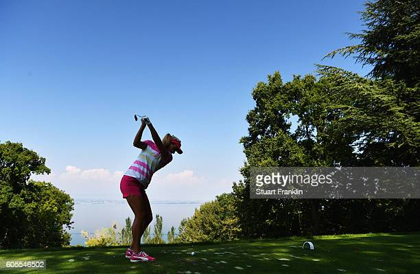 Lexi Thompson of USA plays a shot during practice prior to the start of the Evian Championship Golf on September 14 2016 in EvianlesBains France