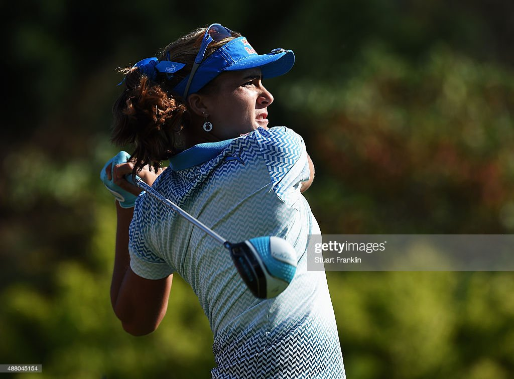Lexi Thompson of USA plays a shot during the final round of the Evian Championship Golf on September 13, 2015 in Evian-les-Bains, France.